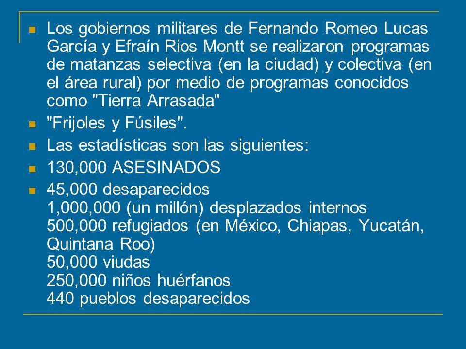 Los gobiernos militares de Fernando Romeo Lucas García y Efraín Rios Montt se realizaron programas de matanzas selectiva (en la ciudad) y colectiva (en el área rural) por medio de programas conocidos como Tierra Arrasada