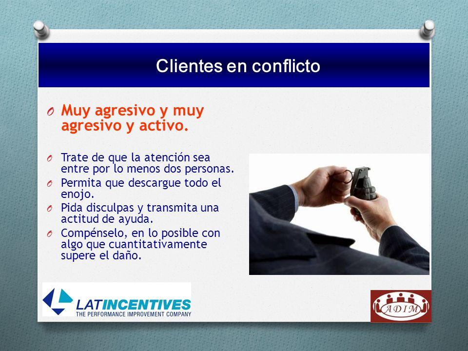 Clientes en conflicto Muy agresivo y muy agresivo y activo.