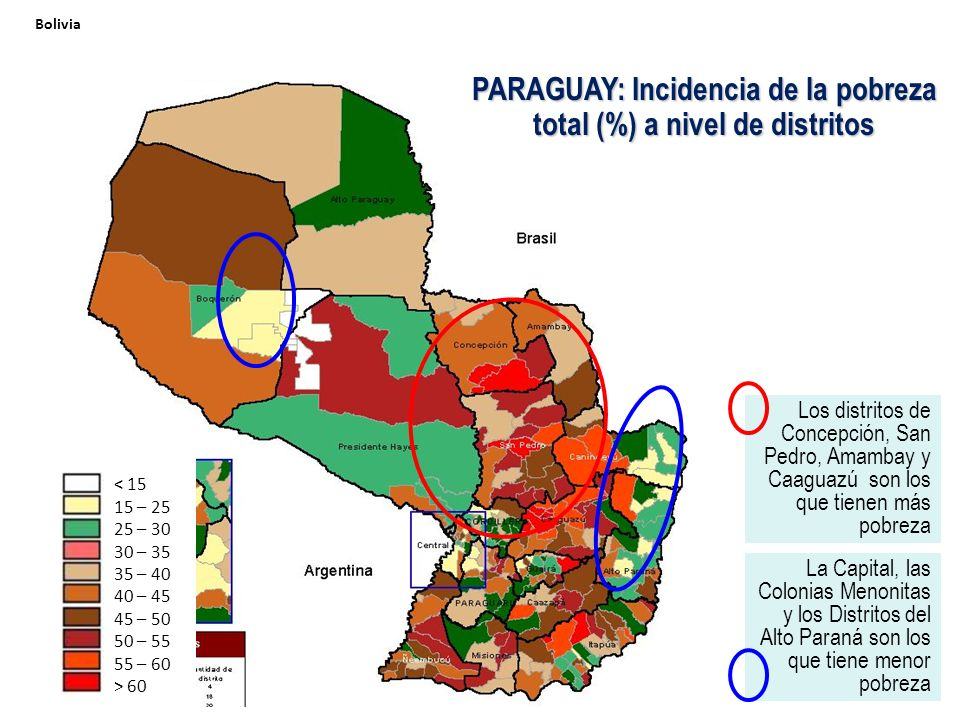 PARAGUAY: Incidencia de la pobreza total (%) a nivel de distritos
