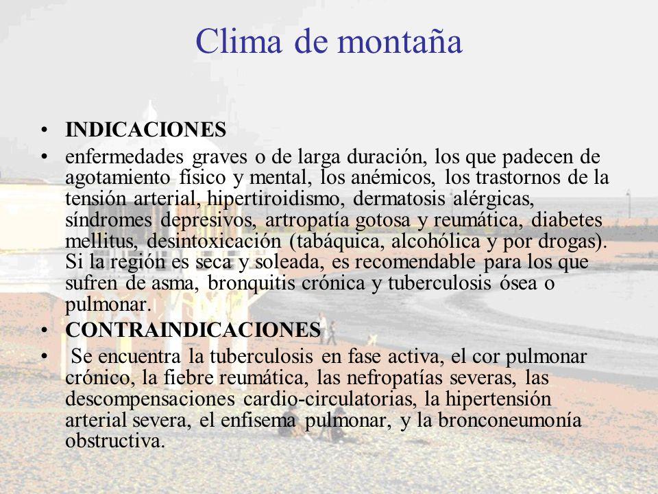 Clima de montaña INDICACIONES