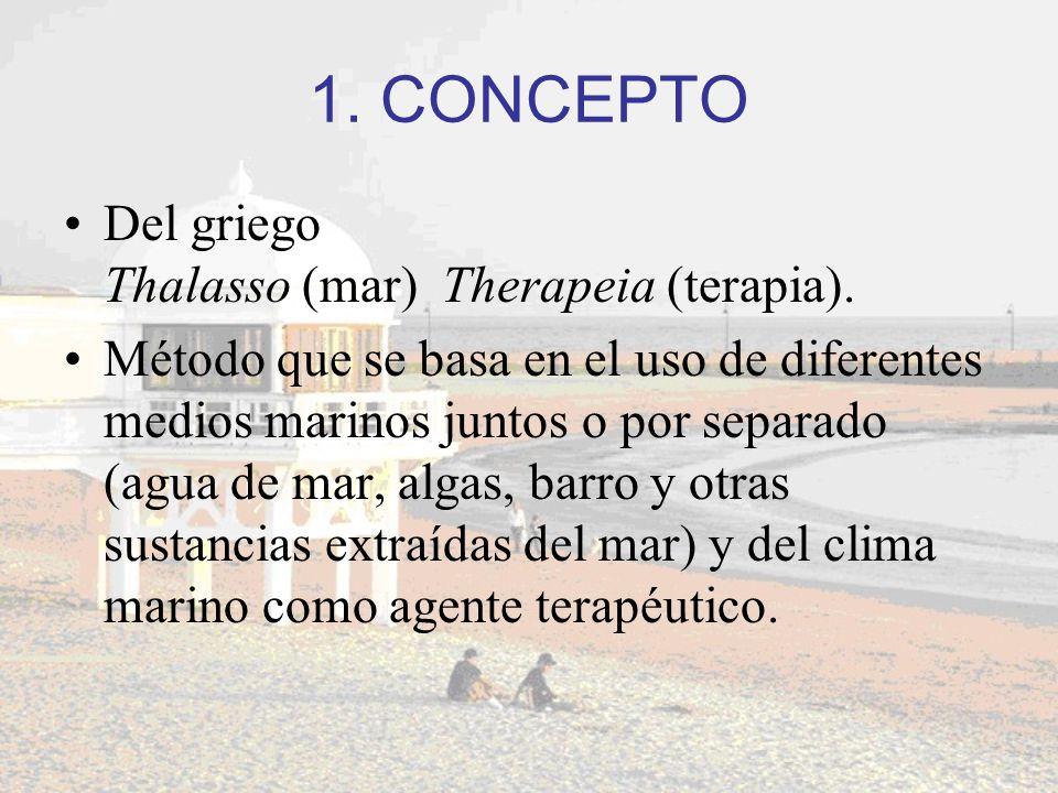 1. CONCEPTO Del griego Thalasso (mar) Therapeia (terapia).