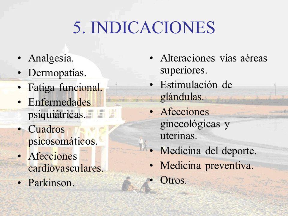 5. INDICACIONES Analgesia. Dermopatías. Fatiga funcional.
