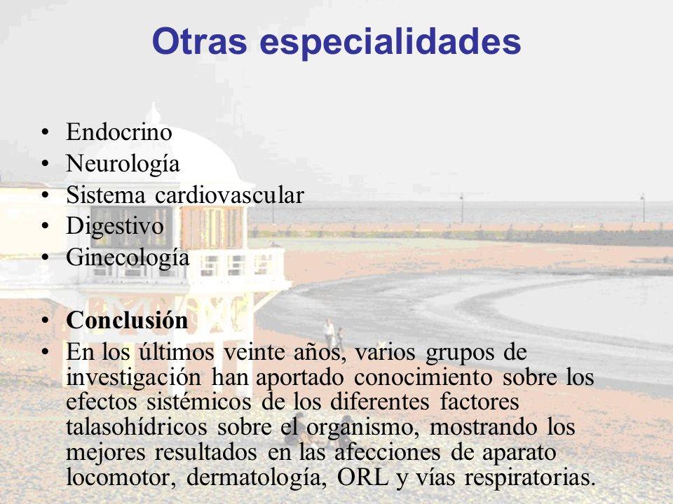 Otras especialidades Endocrino Neurología Sistema cardiovascular