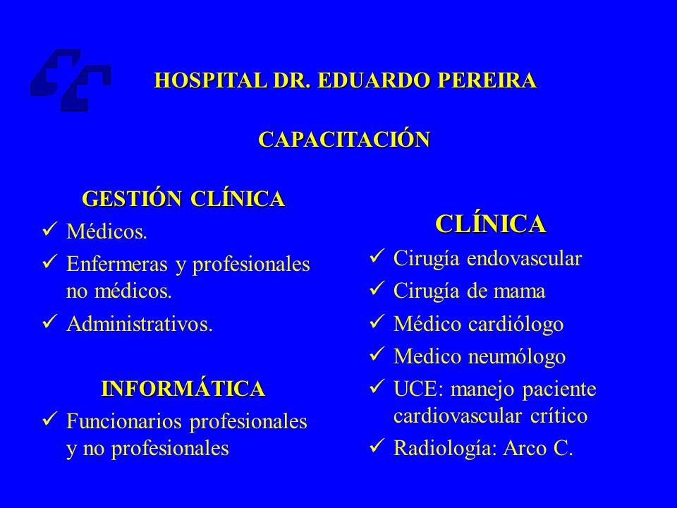 CLÍNICA HOSPITAL DR. EDUARDO PEREIRA CAPACITACIÓN GESTIÓN CLÍNICA