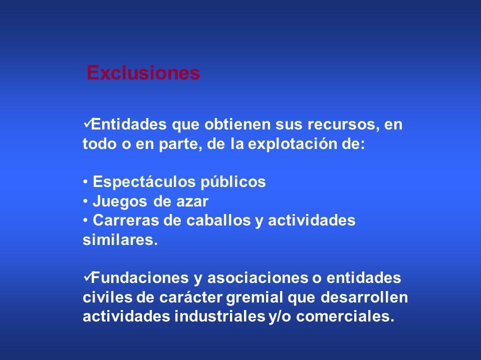 Exclusiones Entidades que obtienen sus recursos, en todo o en parte, de la explotación de: Espectáculos públicos.