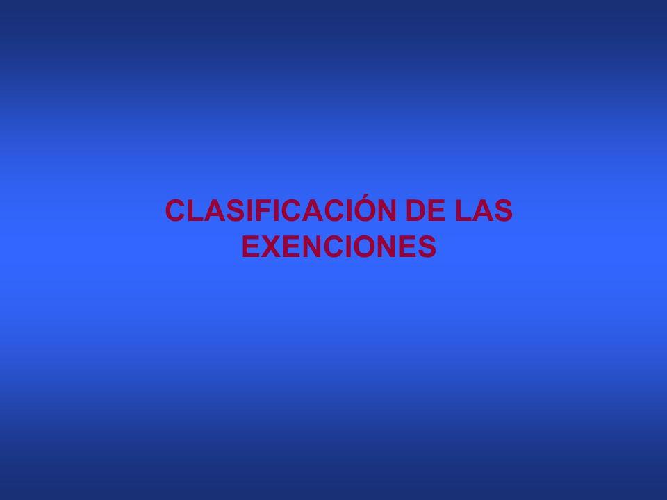 CLASIFICACIÓN DE LAS EXENCIONES