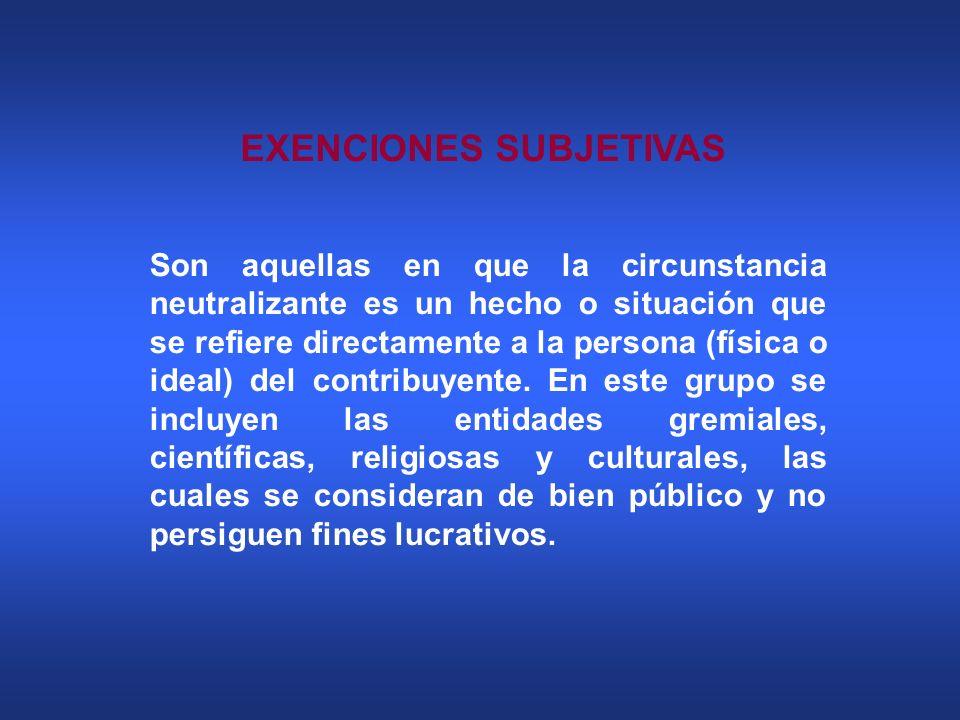 EXENCIONES SUBJETIVAS