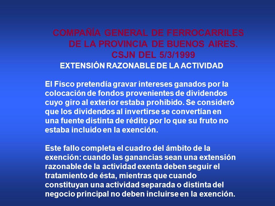 EXTENSIÓN RAZONABLE DE LA ACTIVIDAD