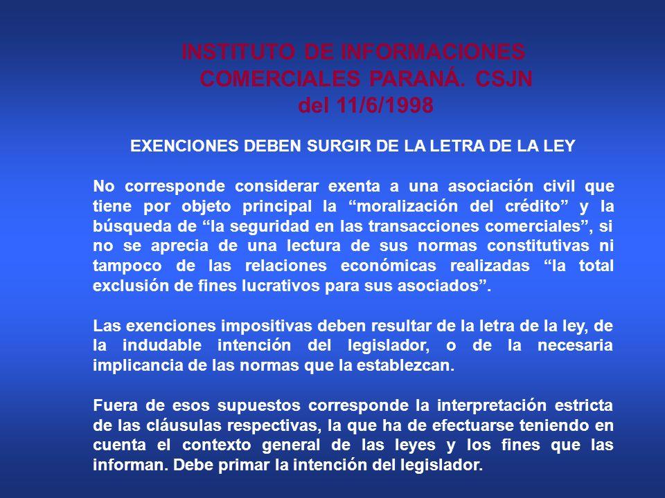 INSTITUTO DE INFORMACIONES COMERCIALES PARANÁ. CSJN del 11/6/1998