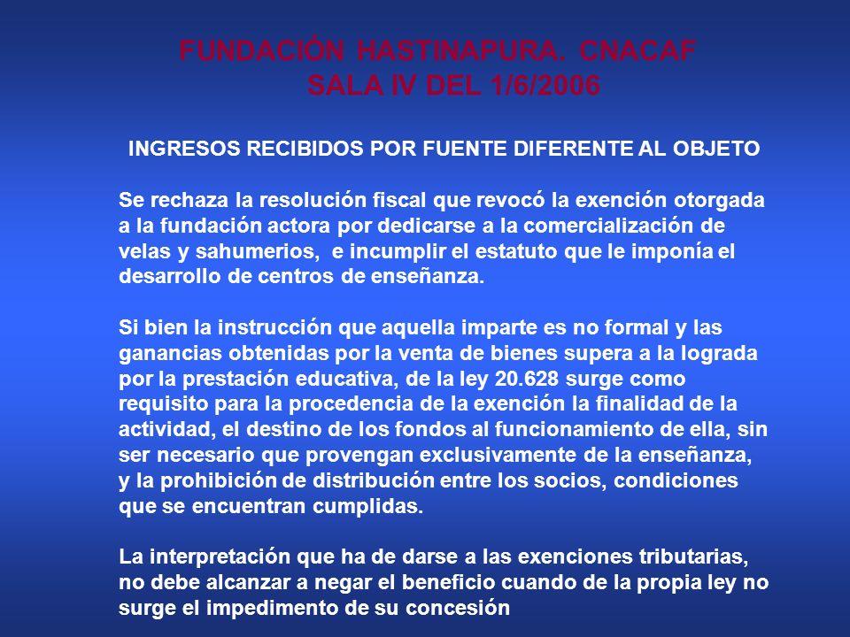 FUNDACIÓN HASTINAPURA. CNACAF SALA IV DEL 1/6/2006