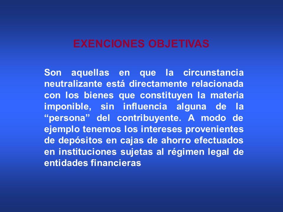 EXENCIONES OBJETIVAS