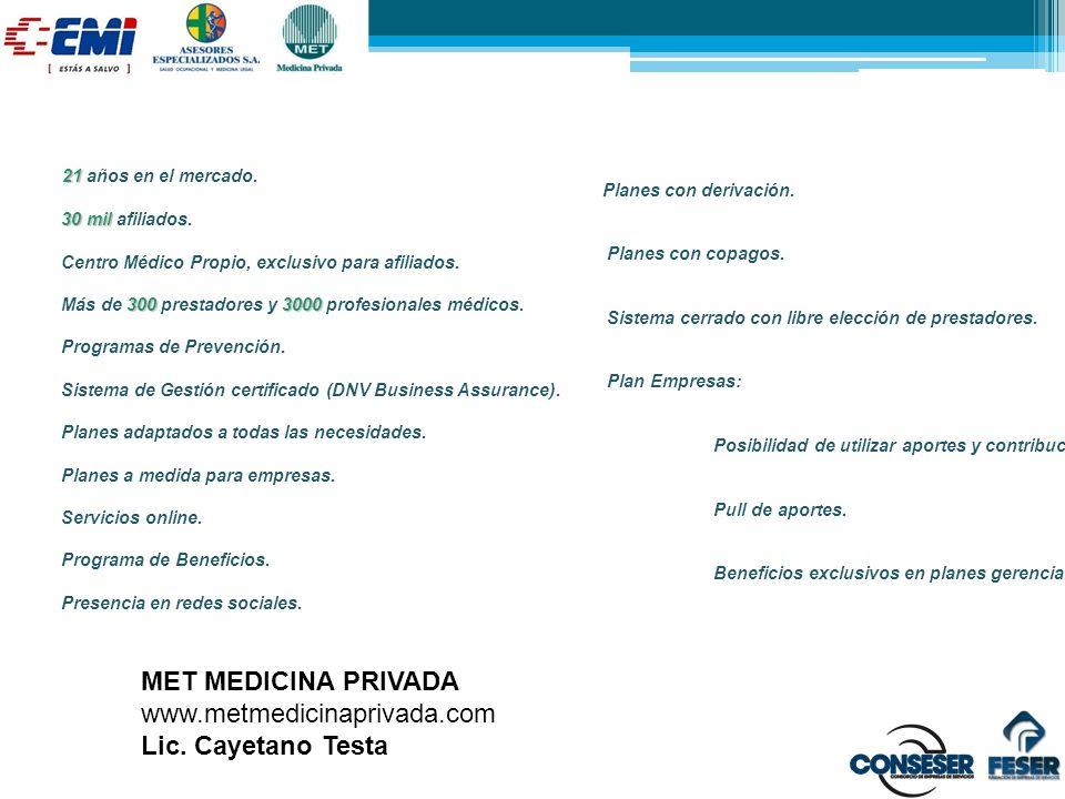 MET MEDICINA PRIVADA www.metmedicinaprivada.com Lic. Cayetano Testa