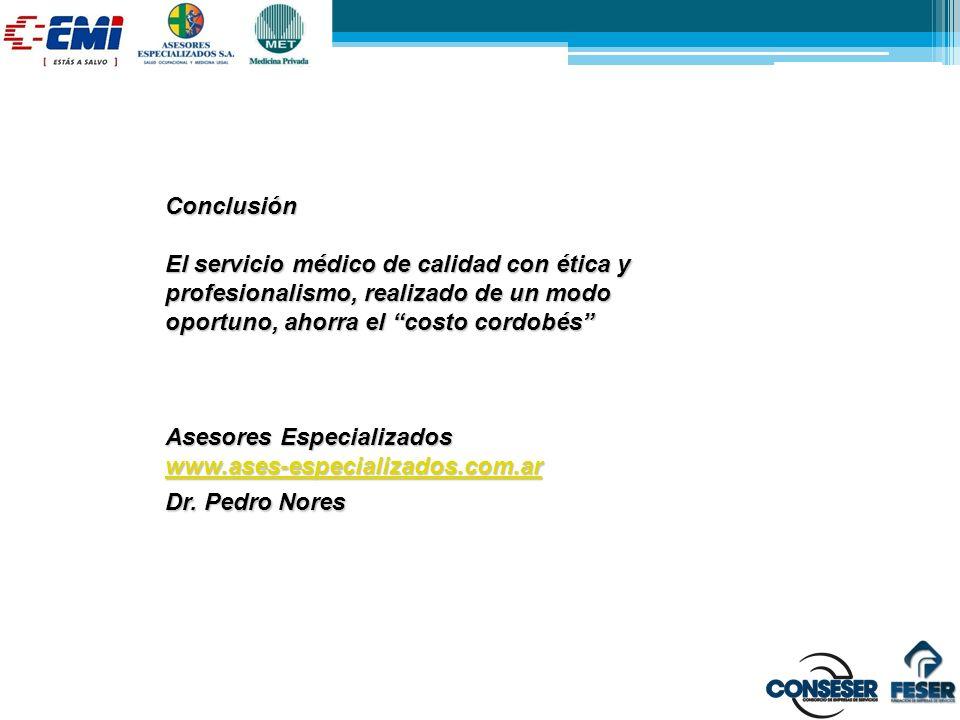 Conclusión El servicio médico de calidad con ética y profesionalismo, realizado de un modo oportuno, ahorra el costo cordobés