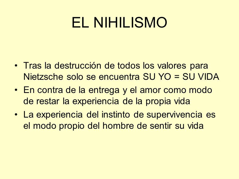 EL NIHILISMO Tras la destrucción de todos los valores para Nietzsche solo se encuentra SU YO = SU VIDA.