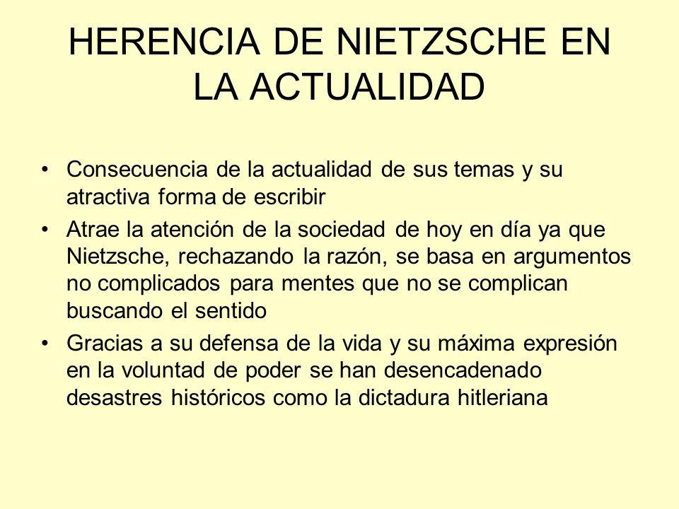 HERENCIA DE NIETZSCHE EN LA ACTUALIDAD