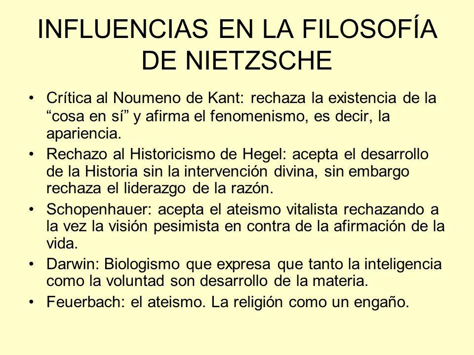 INFLUENCIAS EN LA FILOSOFÍA DE NIETZSCHE