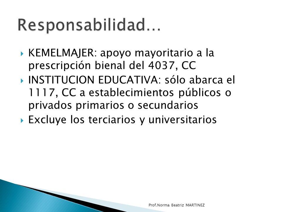 Responsabilidad… KEMELMAJER: apoyo mayoritario a la prescripción bienal del 4037, CC.