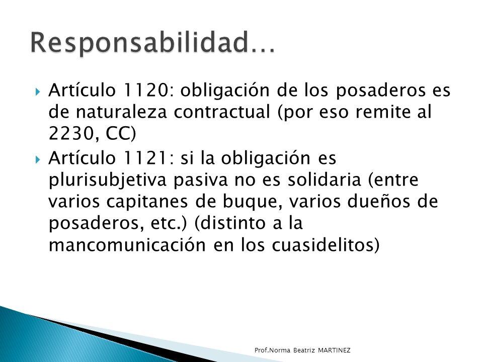 Responsabilidad… Artículo 1120: obligación de los posaderos es de naturaleza contractual (por eso remite al 2230, CC)