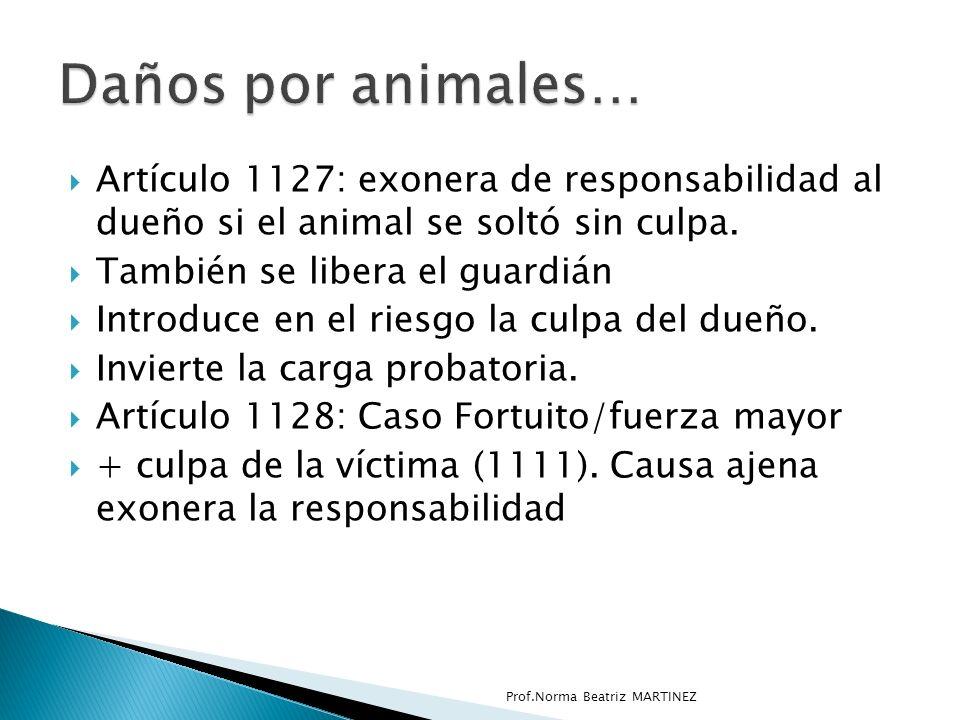 Daños por animales… Artículo 1127: exonera de responsabilidad al dueño si el animal se soltó sin culpa.