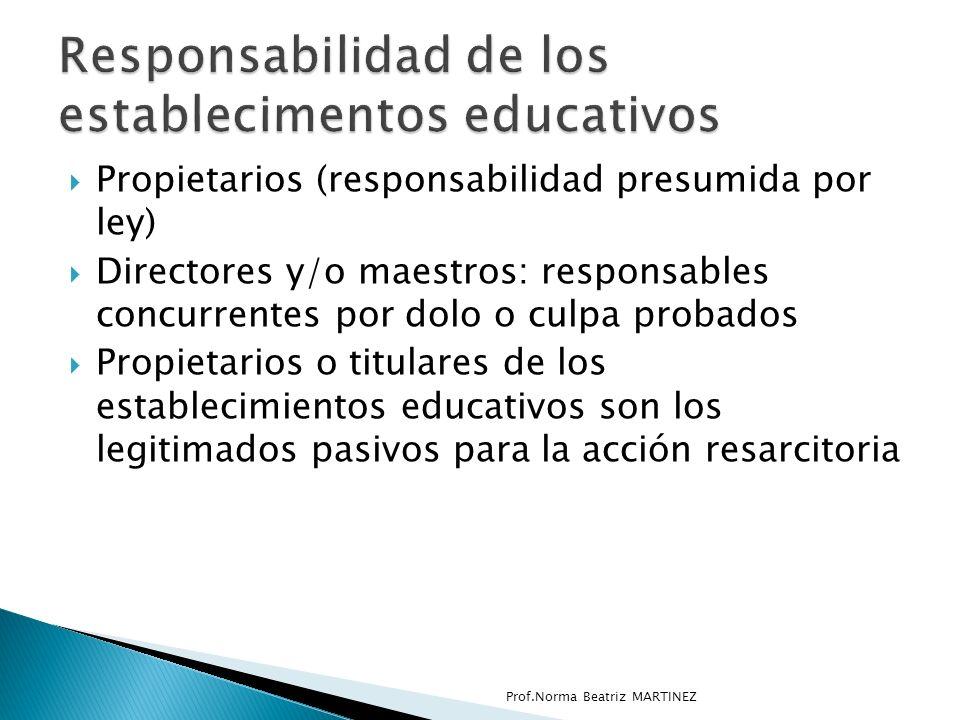 Responsabilidad de los establecimentos educativos