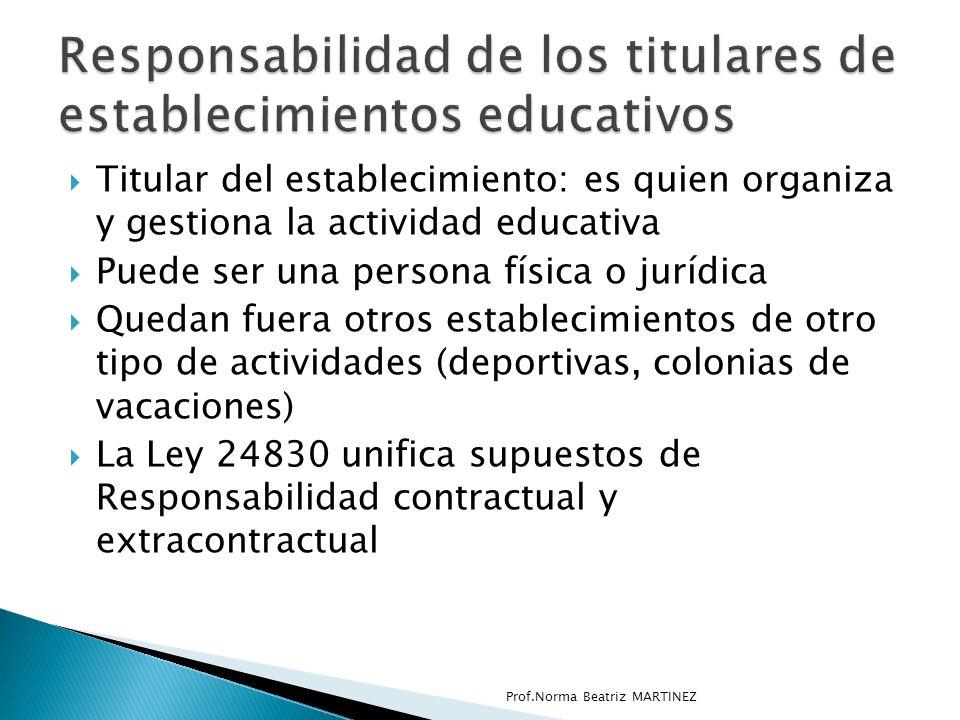 Responsabilidad de los titulares de establecimientos educativos