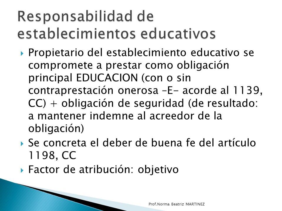 Responsabilidad de establecimientos educativos