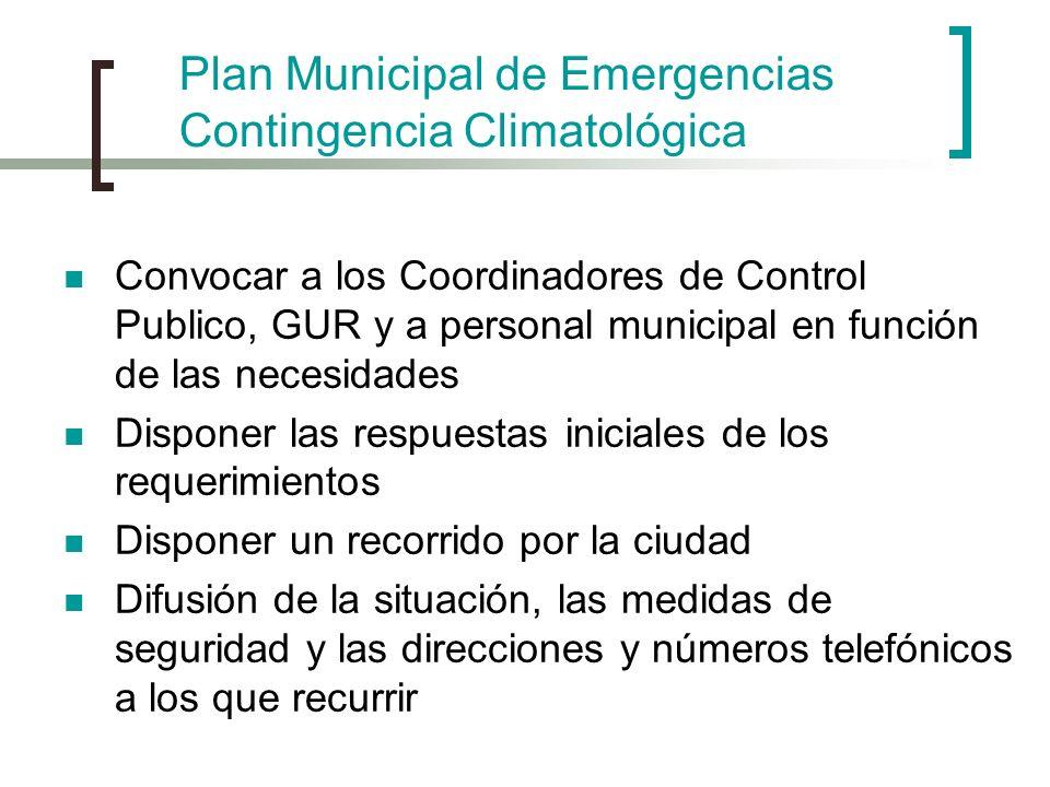 Plan Municipal de Emergencias Contingencia Climatológica