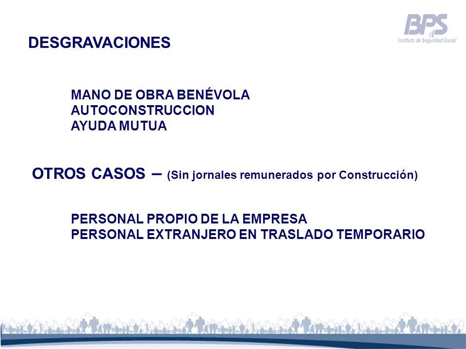 OTROS CASOS – (Sin jornales remunerados por Construcción)