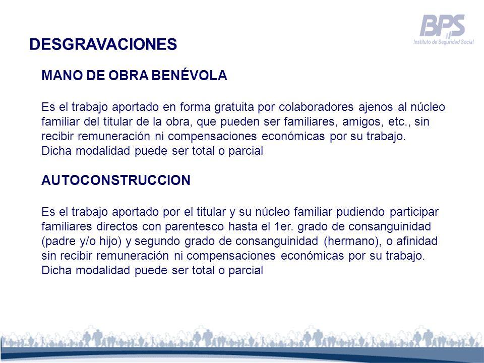 DESGRAVACIONES MANO DE OBRA BENÉVOLA AUTOCONSTRUCCION