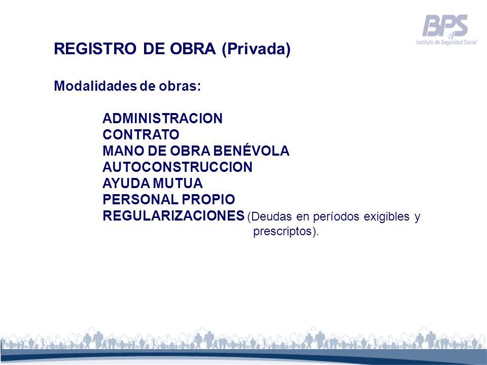 REGISTRO DE OBRA (Privada)