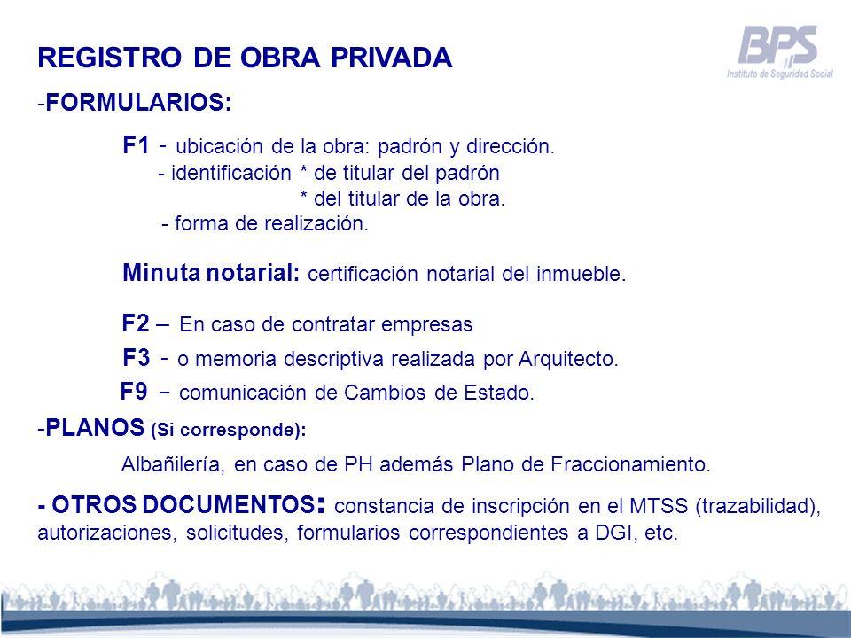 REGISTRO DE OBRA PRIVADA