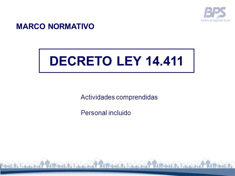 DECRETO LEY 14.411 MARCO NORMATIVO Actividades comprendidas