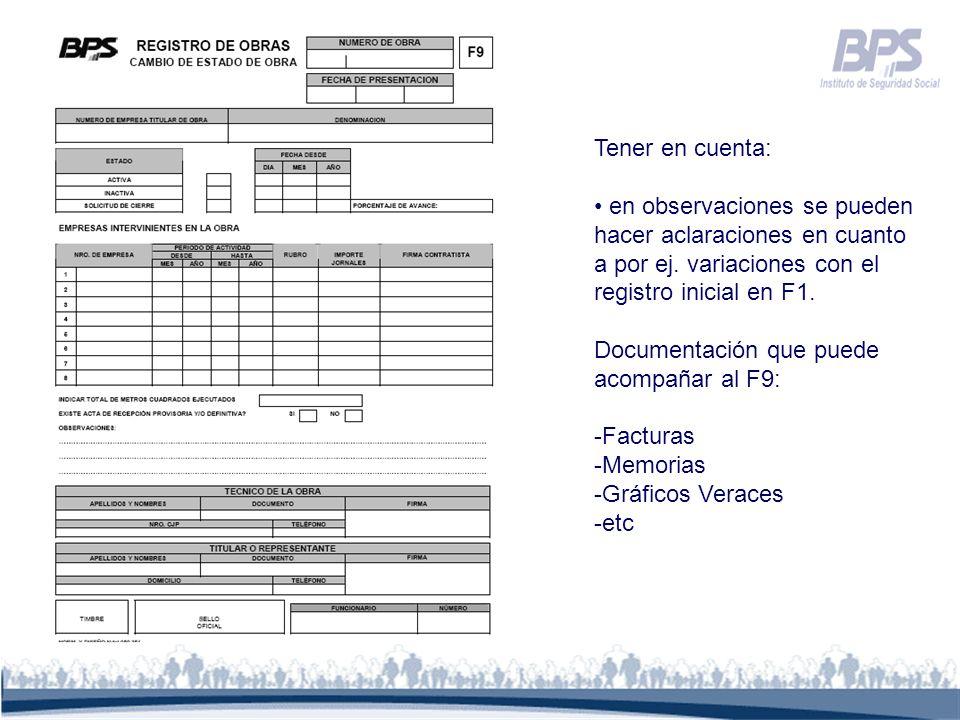 Tener en cuenta: en observaciones se pueden hacer aclaraciones en cuanto a por ej. variaciones con el registro inicial en F1.