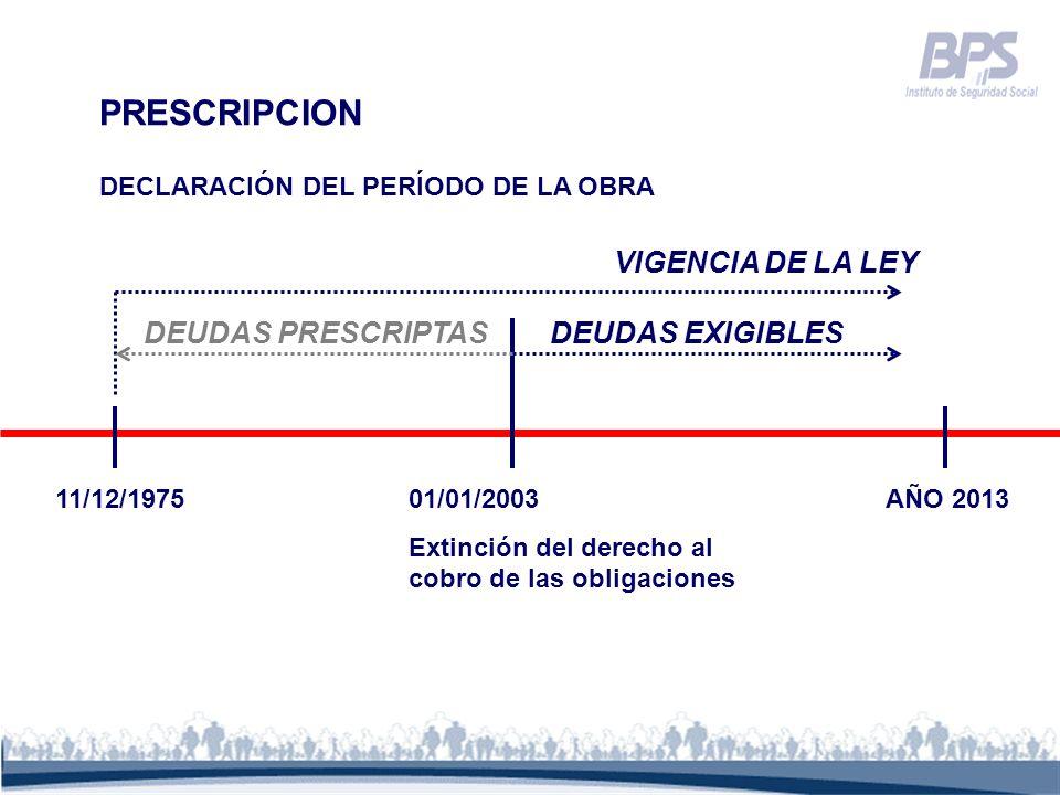 PRESCRIPCION VIGENCIA DE LA LEY DEUDAS PRESCRIPTAS DEUDAS EXIGIBLES