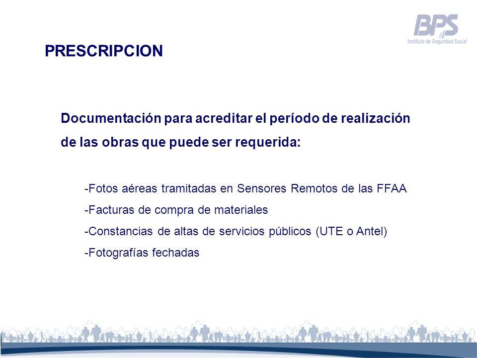 PRESCRIPCION Documentación para acreditar el período de realización