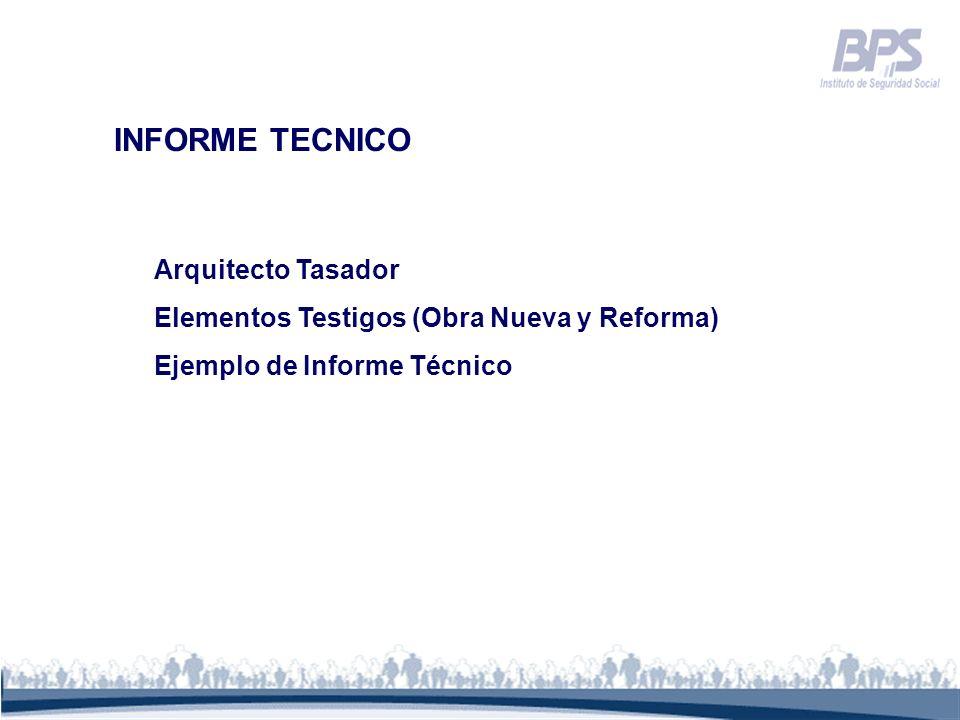 INFORME TECNICO Arquitecto Tasador