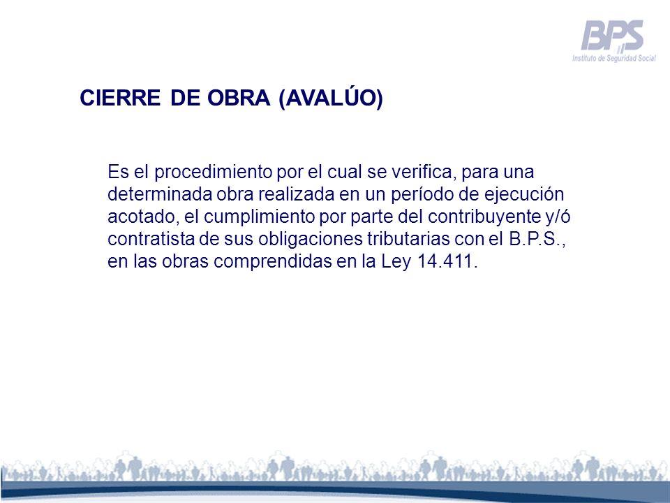 CIERRE DE OBRA (AVALÚO)