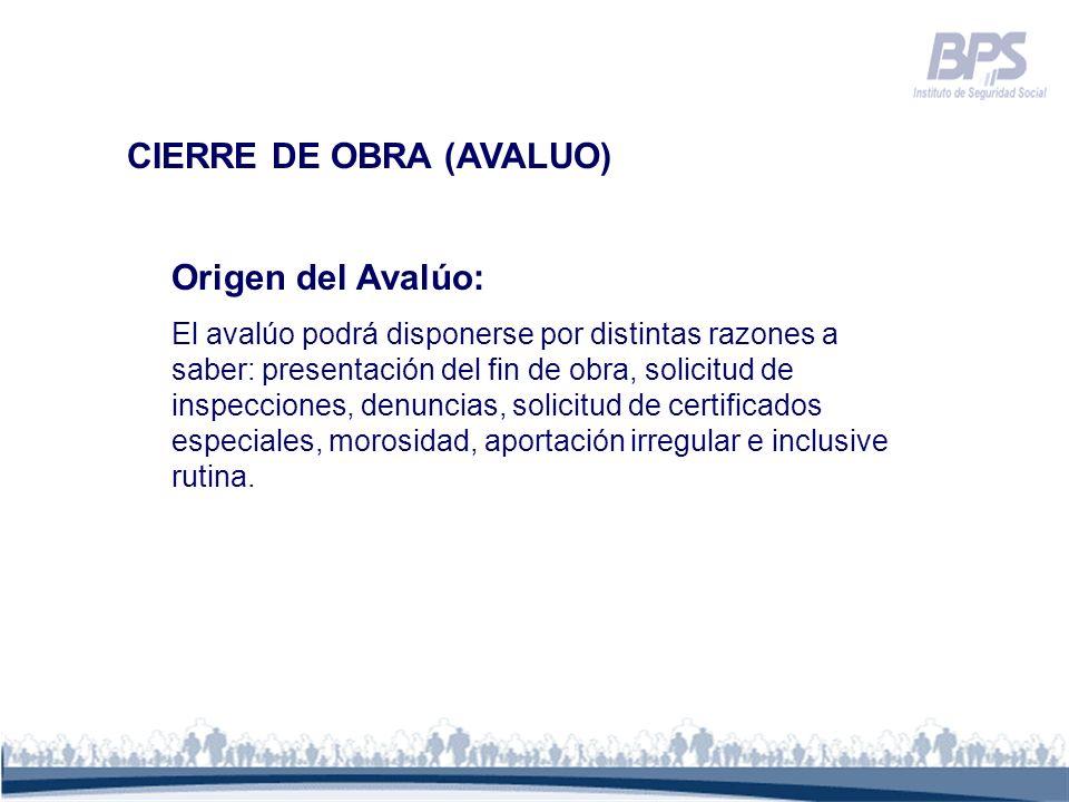 CIERRE DE OBRA (AVALUO)