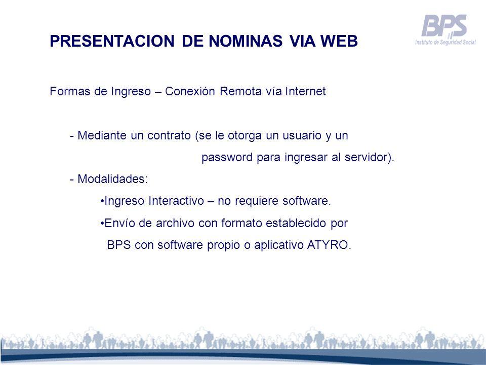 PRESENTACION DE NOMINAS VIA WEB