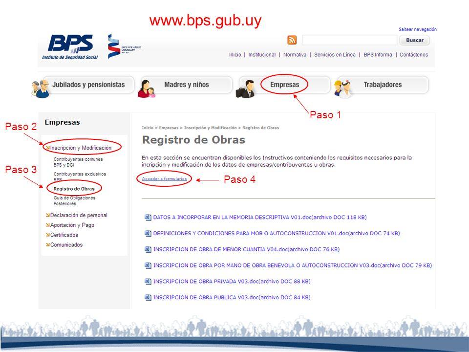 www.bps.gub.uy Paso 1 Paso 2 Paso 3 Paso 4