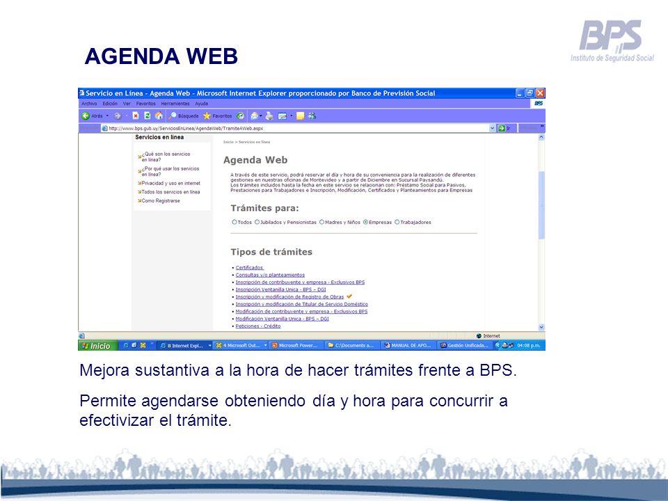 AGENDA WEB Mejora sustantiva a la hora de hacer trámites frente a BPS.