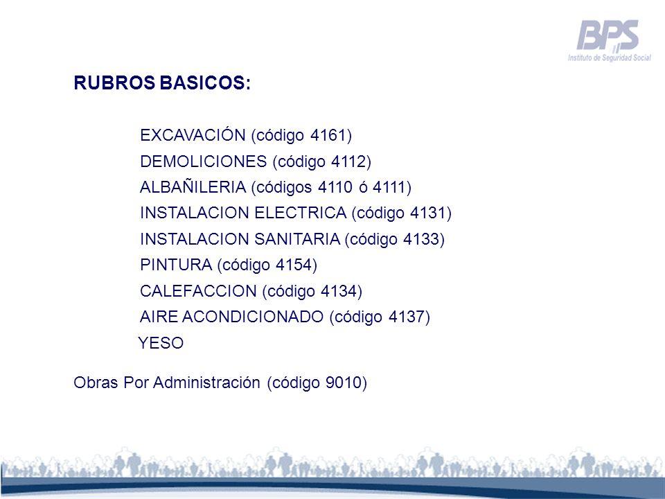 RUBROS BASICOS: EXCAVACIÓN (código 4161) DEMOLICIONES (código 4112)