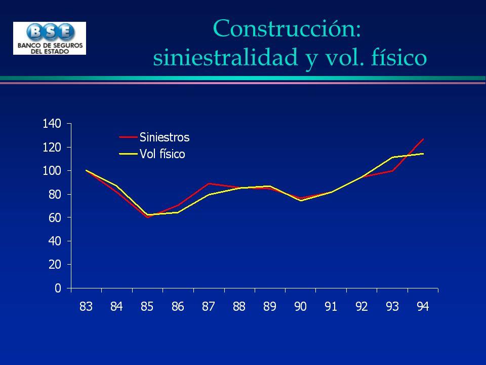 Construcción: siniestralidad y vol. físico