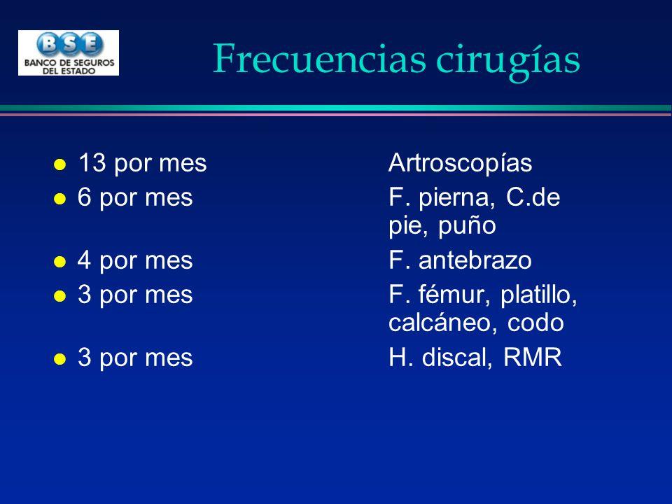 Frecuencias cirugías 13 por mes Artroscopías
