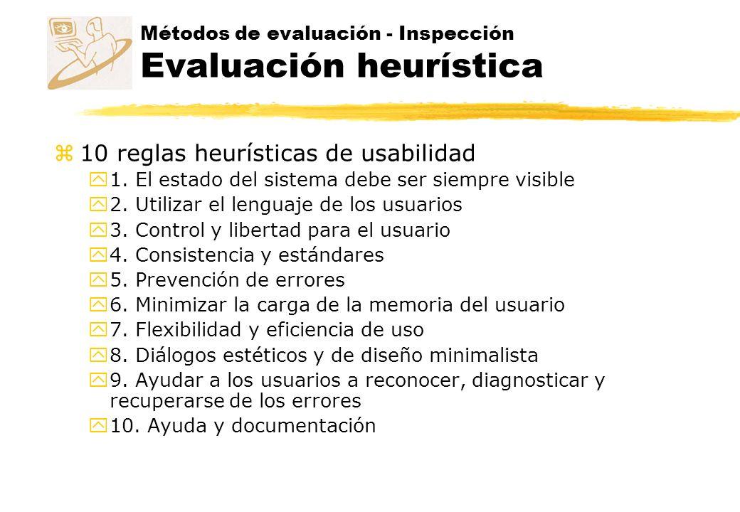 Métodos de evaluación - Inspección Evaluación heurística