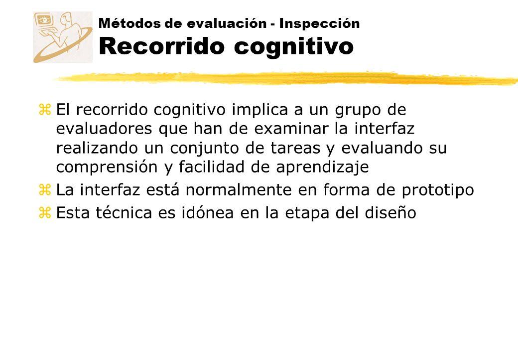 Métodos de evaluación - Inspección Recorrido cognitivo