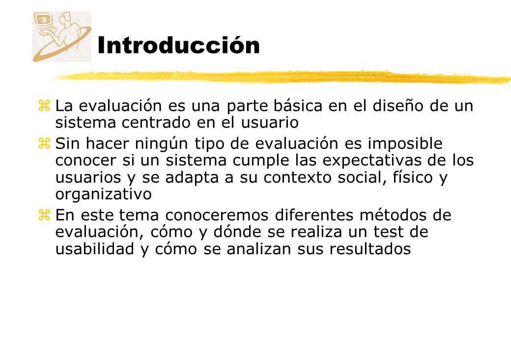 Introducción La evaluación es una parte básica en el diseño de un sistema centrado en el usuario.