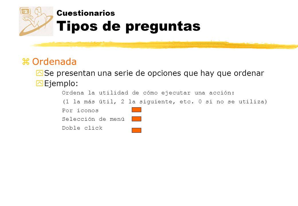 Cuestionarios Tipos de preguntas