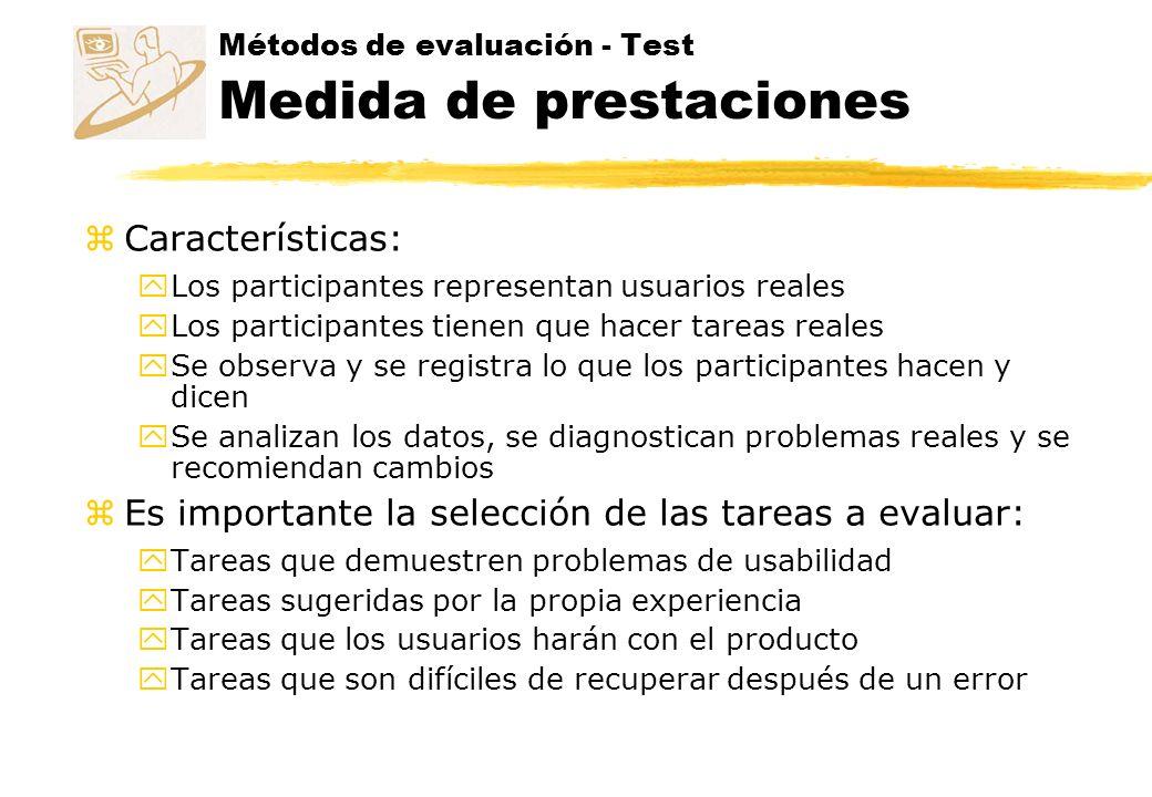 Métodos de evaluación - Test Medida de prestaciones