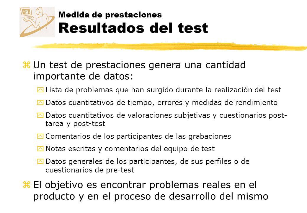 Medida de prestaciones Resultados del test